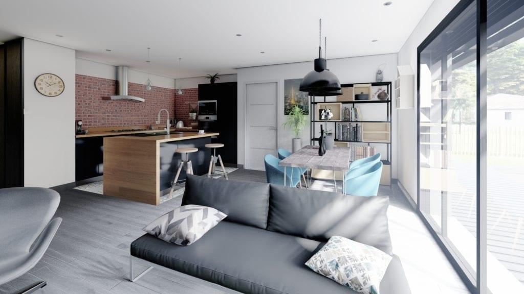 vue de la cuisine décorée de la maison modèle loft