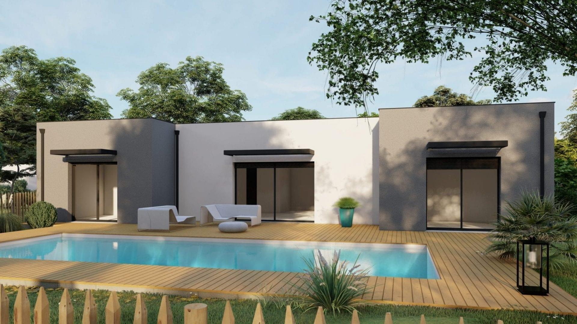 vue extérieure côté jardin de la maison modèle design et sa piscine