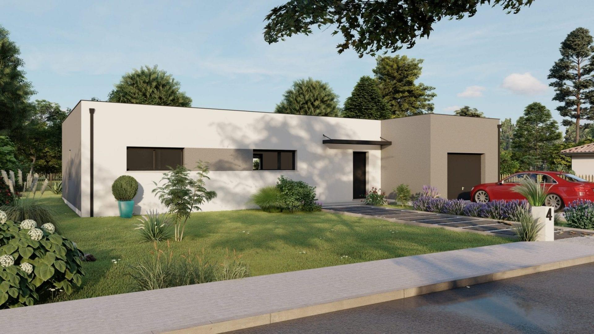 vue exterieure côté rue de la façade de la maison modèle design et son garage