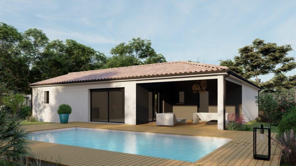 vue extérieure côté jardin de la maison modèle family et sa piscine
