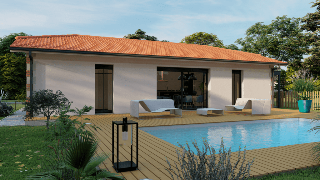 vue extérieure côté jardin de la maison modèle loft arcachonnaise et sa piscine