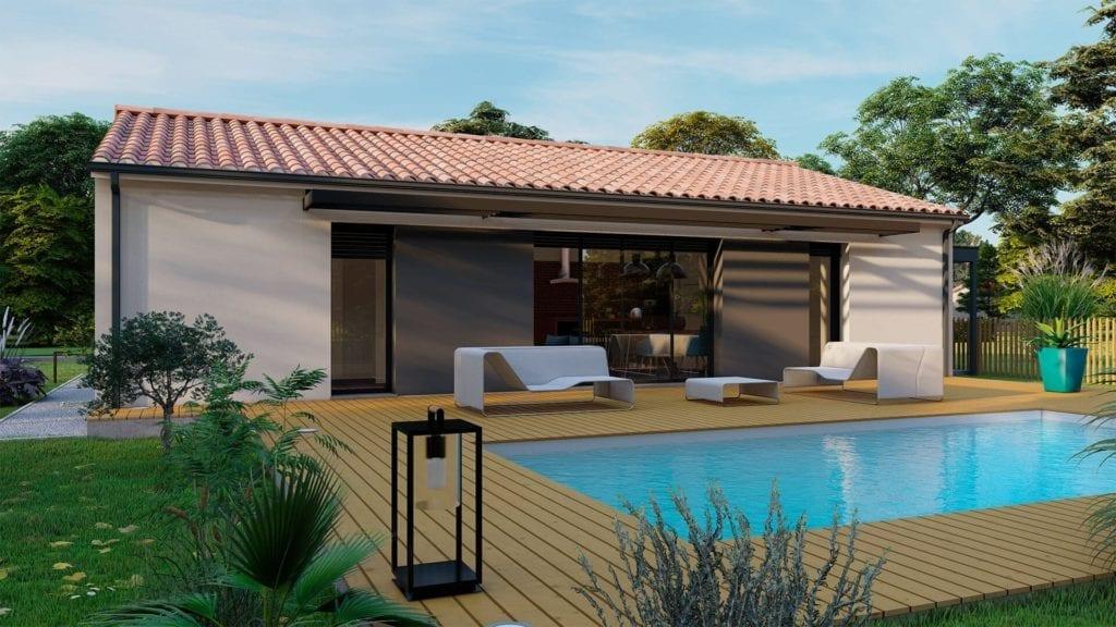 vue extérieure côté jardin de la maison modèle loft contemporaine avec piscine