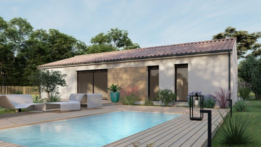 vue extérieure côté jardin de la maison modèle pop et sa piscine