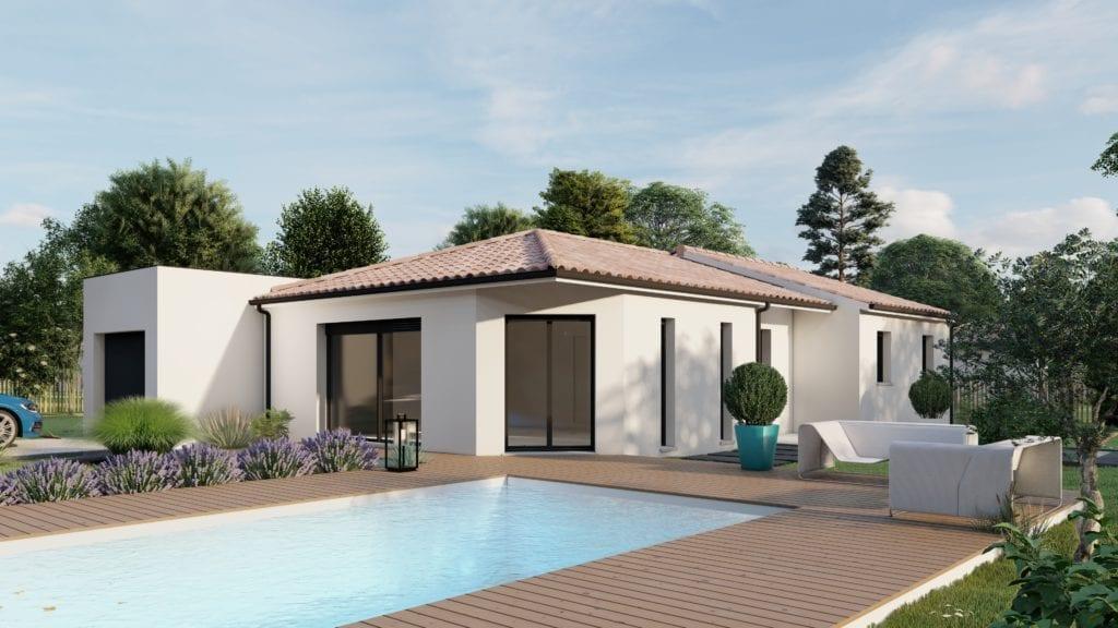 vue extérieure côté jardin de la maison modèle tech et sa piscine