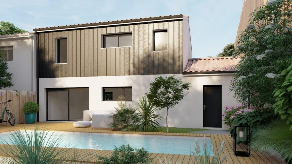 vue extérieure côté jardin de la maison modèle urban avec piscine