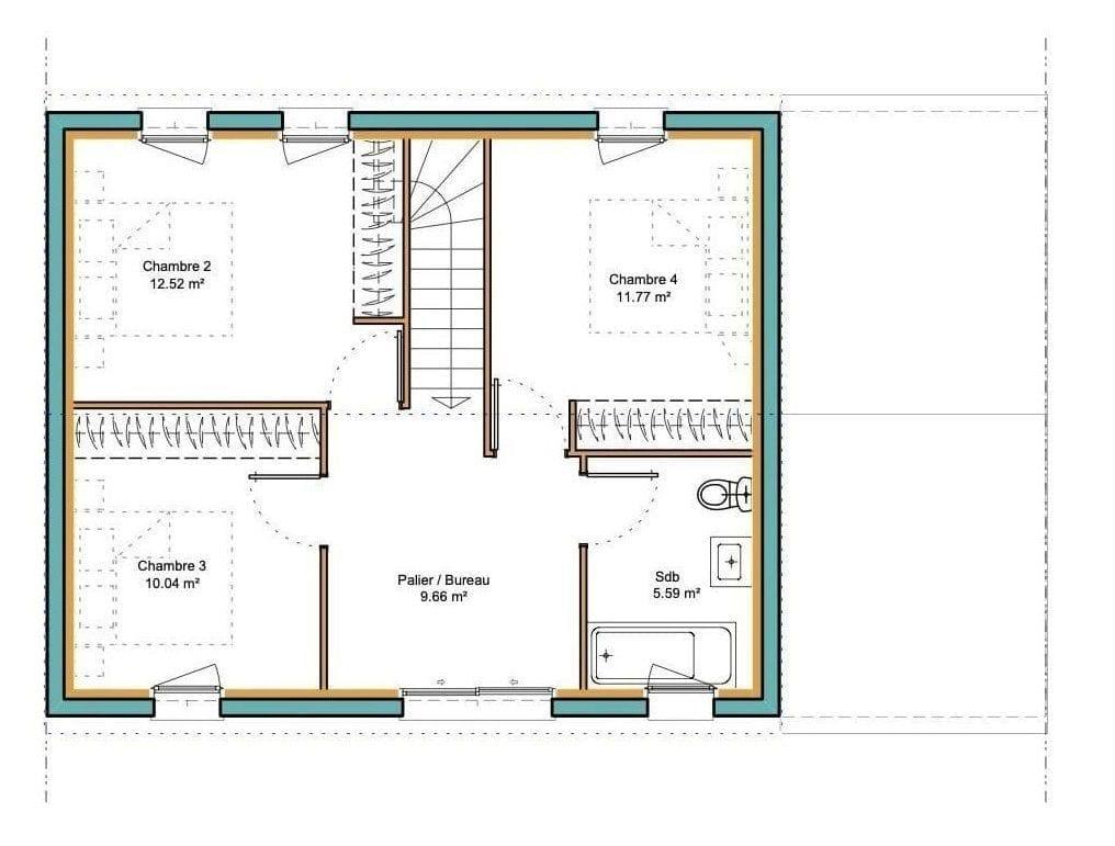 plan du premier étage de la maison modèle urban avec garage