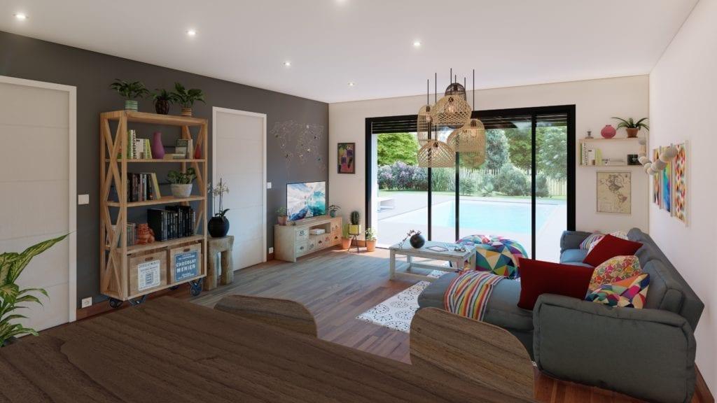 vue du salon décoré de la maison essentiel de style bohème folk