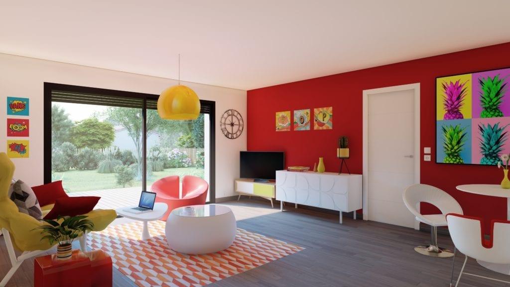 vue intérieure sur le salon décoré de la maison modèle pop