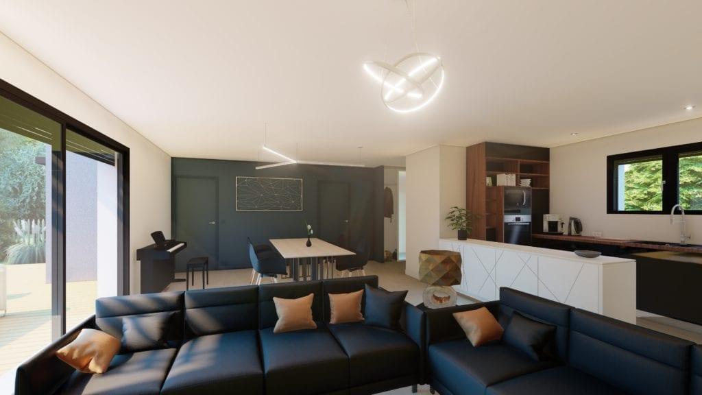 vue sur le salon décoré de la maison design
