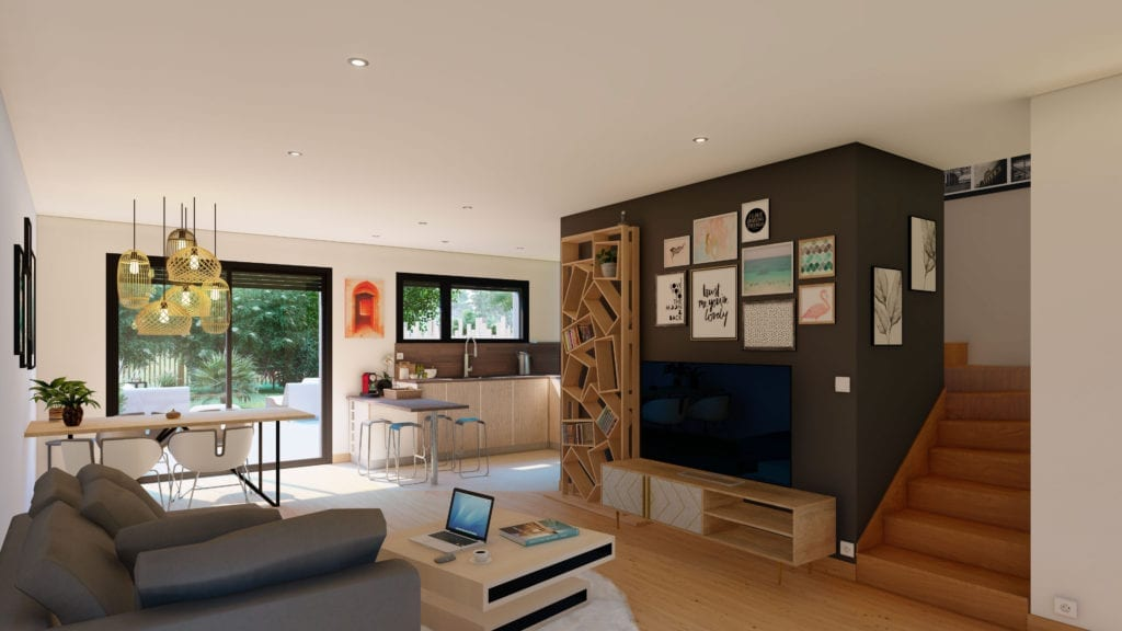 vue sur le salon décoré de la maison urban compact