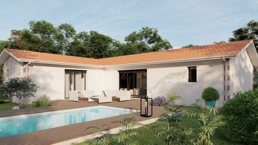 vue extérieure côté jardin de la maison modèle trendy arcachonnaise et sa piscine