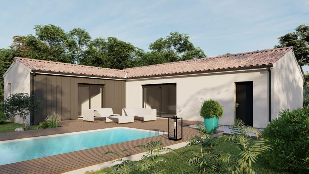 vue exterieure côté jardin de la maison modèle trendy contemporaine avec sa piscine