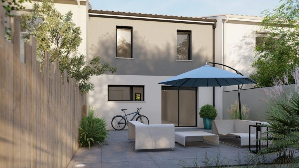 vue côté jardin-terrasse de la maison modèle urban compact contemporaine