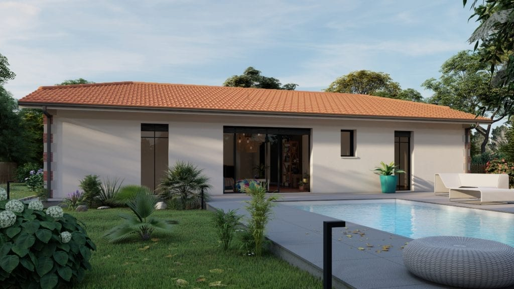 vue de la maison modèle essentiel version arcachonnaise côté piscine