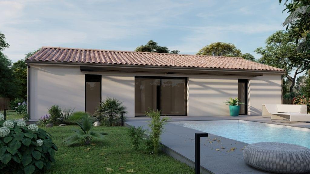 vue côté jardin de la maison modèle essentiel avec piscine