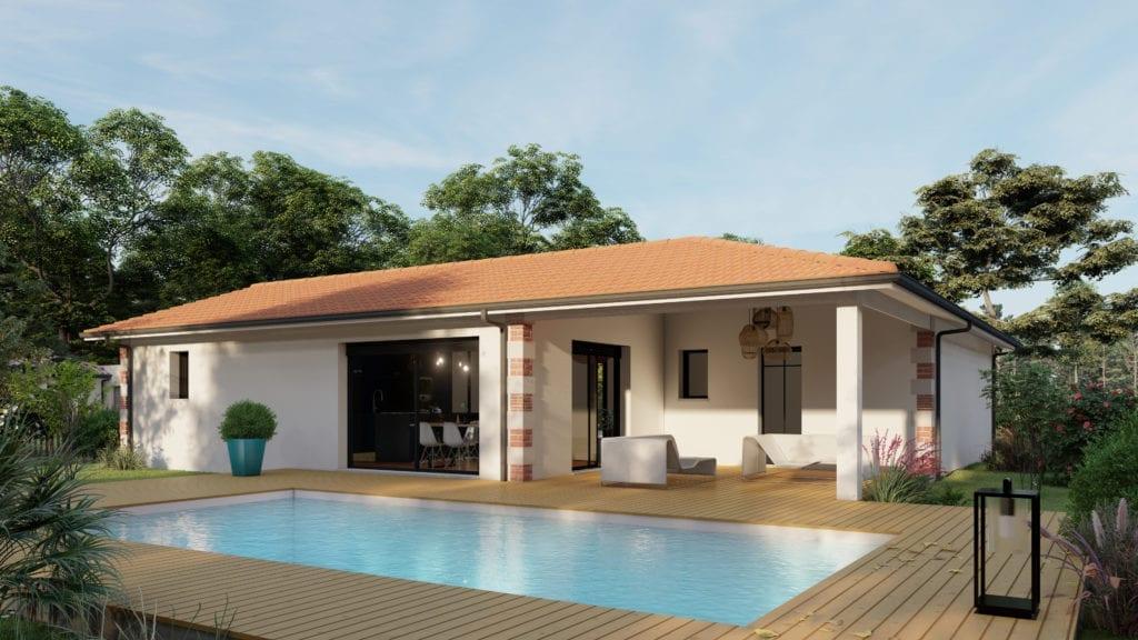 vue extérieure côté jardin de la maison modèle family arcachonnaise et sa piscine