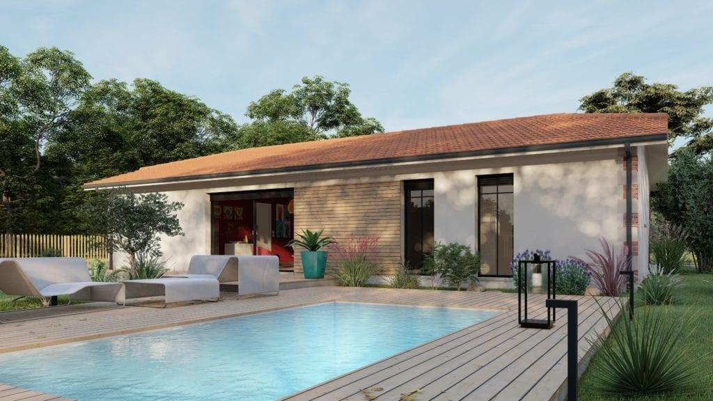 vue de la maison modèle pop arcachonnaise avec piscine