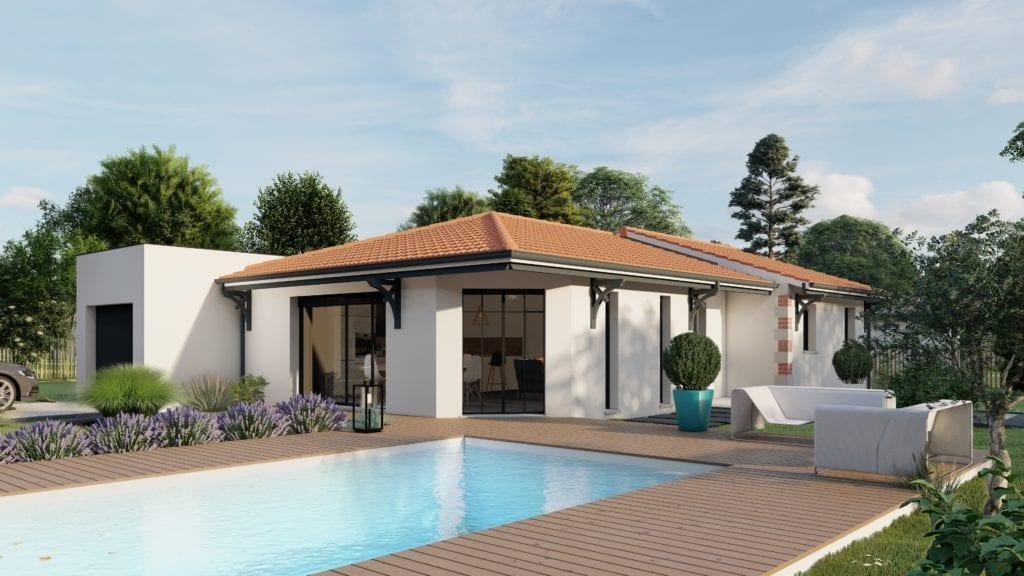 vue côté jardin de la maison modèle tech arcachonnaise avec piscine et garage